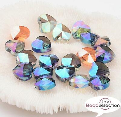 £2.59 • Buy 10 PENDANT HEART FACETED CUT GLASS CRYSTAL BEADS 10mm RAINBOW AB LUSTRE GLS6