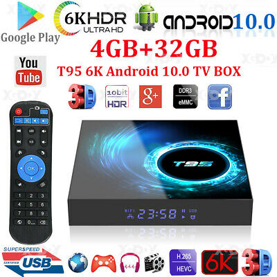 AU53.29 • Buy T95 Android 10.0 6K 4+32G Quad Core Smart TV Box 2.4G WIFI USB 3D Movies HDR10