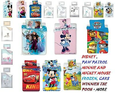 Baby Bedding Set 135X100 TO FIT COT Or COT BED -DISNEY, FROZEN ,CARS,PAW PATROL • 18.49£