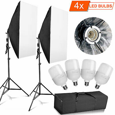 4x 25W LED Softbox Photography Studio Continuous Lighting Kit Video Light Stand • 34.99£