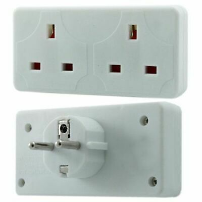 2 X2 Way European Travel Electrical Plug Socket Adaptor 2 Pin To Double UK 3 Pin • 7.99£