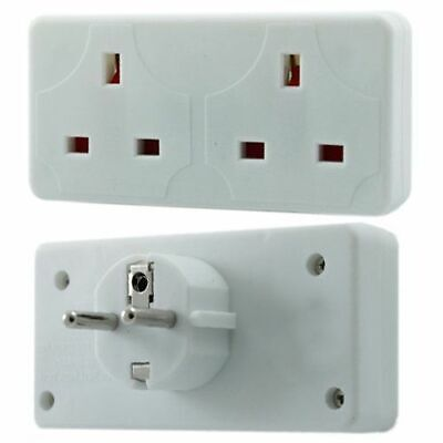 PLUG TRAVEL ADAPTER UK* 2 Way European Travel Electrical Socket Adaptor • 4.98£