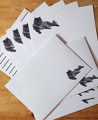 £3.40 • Buy Beautiful Grey Prince Cat Letter Writing Stationery Paper Set With Envelopes