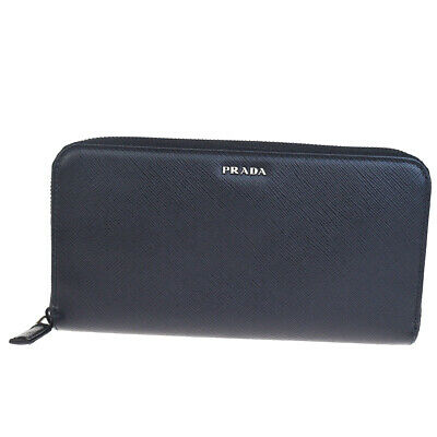 Auth PRADA MILANO Logos Zipper Long Wallet Purse Leather Balck Italy 37BG522 • 280.82£