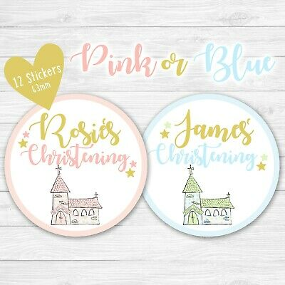 Personalised Christening Baptism Stickers Round Labels Thank You Favour Party • 2.49£