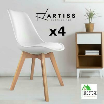 AU153 • Buy Artiss Padded Retro Replica DSW Dining Chairs Chair Kitchen White X4