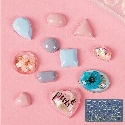 Mini Nail Art Craft Silicone Mould Gems Tear Drop Heart Diamond Square Circle • 6.99£