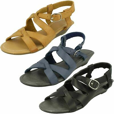 Ladies Spot On Open Toe Low Wedge Sandals • 5.99£