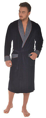 Men's Mid-weight Velour Dressing Gown, Navy With Dogtooth Trim (M-XXL) • 39.99£