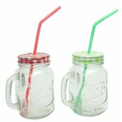 Glass Drinking Jars Sets With Plastic Straws And Lids- 400ml- PARTY BBQ • 11£