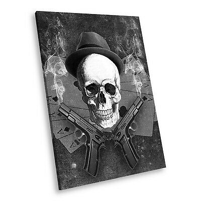 AB241 Skull Retro Black White Abstract Portrait Canvas Picture Prints Wall Art • 14.99£