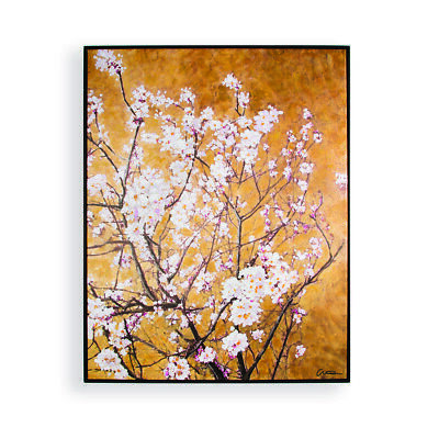 Art For The Home Oriental Blossom Hand Painted Framed Canvas Wall Art (Was £100) • 45£