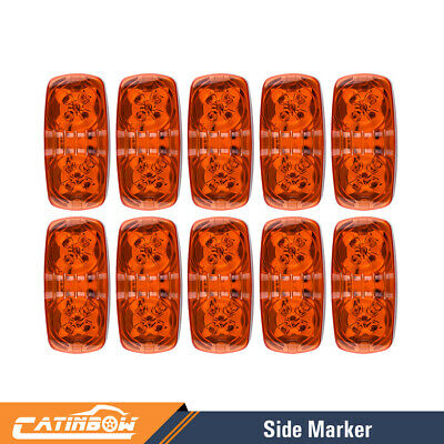 10X Amber LED Clearance Side Marker Double Bullseye Light 10 Diodses Trailer RV • 24.31$