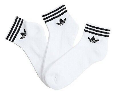 AU33.82 • Buy Adidas Men Trefoil Ankle 3 Pairs Socks White Sports Casual Fashion Sock EE1152