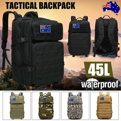 AU34.90 • Buy 45L Military Tactical Backpack Molle Rucksacks Camping Hiking Trekking Bag AU