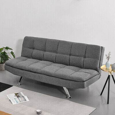 Modern Luxury 3 Seater Sofa Bed Couch Settee With Chrome Legs Recliner Furniture • 169.99£