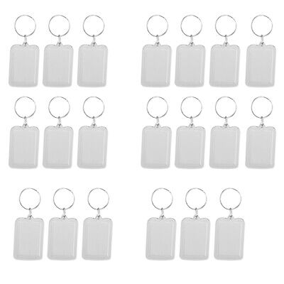 £7.29 • Buy 20pcs Oblong Blank Clear Keyring Make Your Own Photo Keychain, 38x25mm