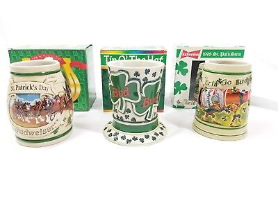 $ CDN79.07 • Buy Budweiser St Patrick's Day 95 96 98 3 Tip O' The Hat Erin Go Steins Mugs Lot Set