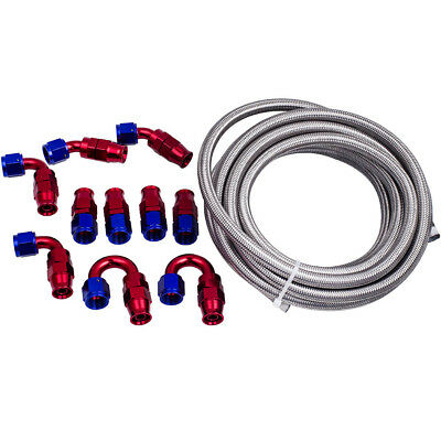 AU111.32 • Buy AN8 AN-8 Stainless Steel Braided PTFE E85 Oil Line Fuel Hose & End PTFE Fitting