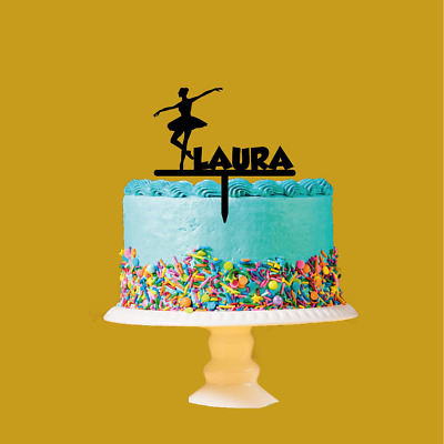Personalised Name Acrylic Cake Topper Ballet Dance Theme Birthday • 9.99£