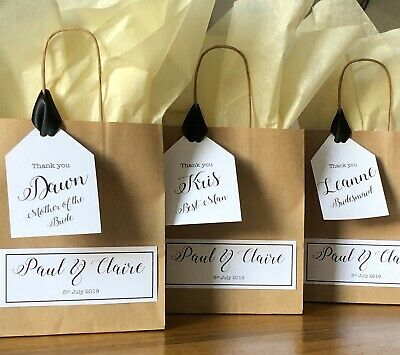 Personalised Wedding Brown Paper Favour Bag/Gift/Hen/Christening/Party 2019 • 1.10£