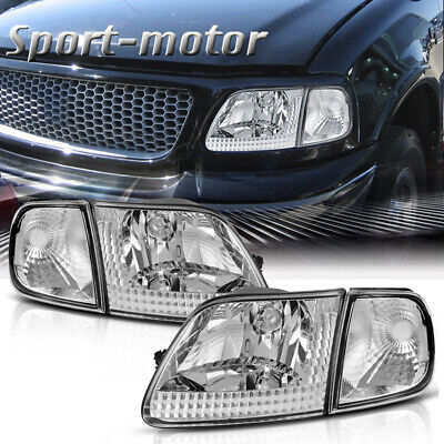 $75.59 • Buy For Ford 97-03 F150 97-02 Expedition Chrome Housing Headlights W/ Clear Corner