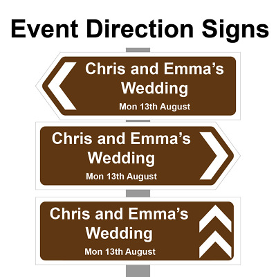 £14.99 • Buy Large Personalised Wedding Direction Sign, Road Sign Names, Event & Date. Correx