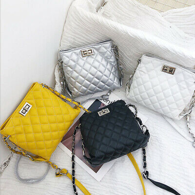 UK Women Ladies Shoulder Quilted Handbag Gold Chain Faux Leather Cross Body Bag • 5.69£