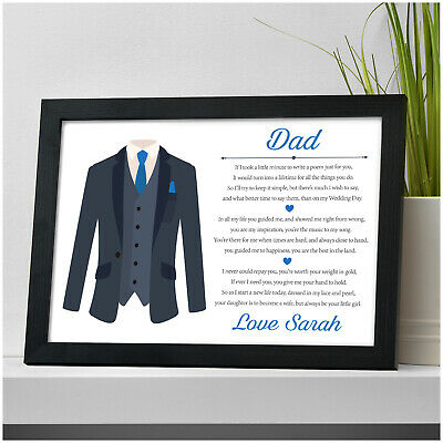 Father Of The Bride PERSONALISED Thank You Poem Gifts For Dad Daddy Step Dad • 4.95£