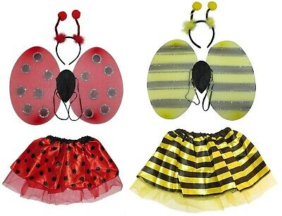Bumble Bee Ladybird Wings Boppers Tutu Outfit Costume Fancy Dress Set Headband • 8.20£