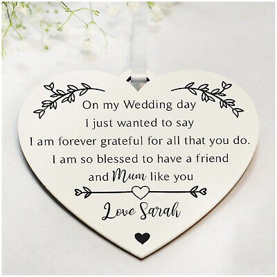 PERSONALISED Mother Of The Bride Wooden Heart Plaque Keepsake Gifts - 6 Colours • 4.99£