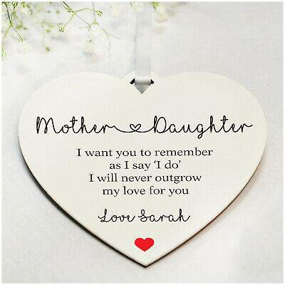 Personalised Wedding Gifts For Mother Of The Bride Wooden Heart Plaque Keepsakes • 4.99£