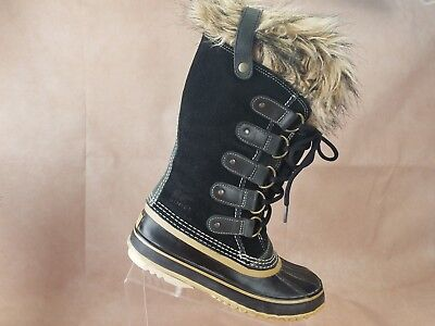 ae3d9a3c2b96a Sorel Joan Of Arctic Womens Waterproof Snow Boots Size 6 Black Leather Faux  Fur • 109.99