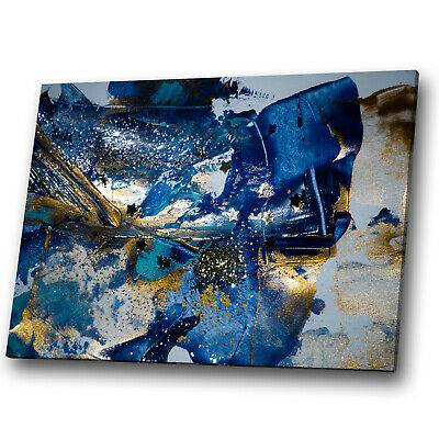 Gold Blue Navy Black Grey Abstract Canvas Wall Art Large Picture Prints • 9.99£