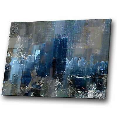Black Retro Grey Navy Blue Abstract Canvas Wall Art Large Picture Prints • 9.99£
