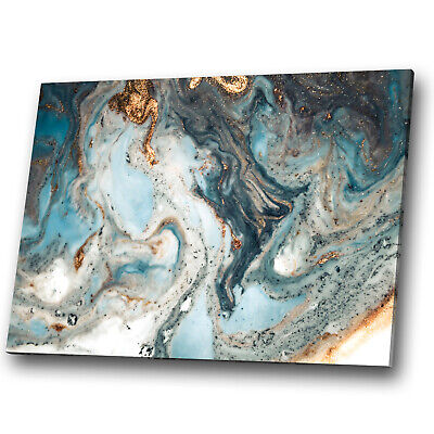 Blue Teal White Gold Marble Abstract Canvas Wall Art Large Picture Prints • 23.99£