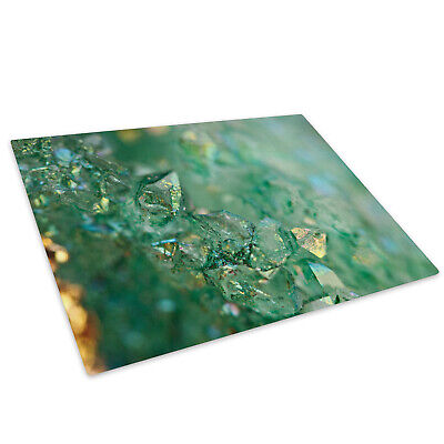 Green Blue Crystal Glass Chopping Board Kitchen Worktop Protector • 15.99£