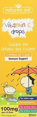 Natures Aid VITAMIN C 50ml Drops For 3+ Months Infants To 5 Years Children • 5.74£