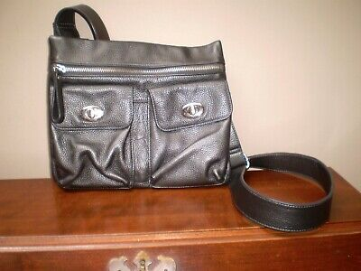 $ CDN40 • Buy Danier Mint Condition Shiny Gray Cross Body 3 Front Pocket Handbag