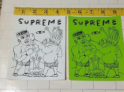 $ CDN37.58 • Buy LOT X2 New SUPREME SKATEBOARD STICKER DANIEL JOHNSTON Alien Boxers Eternal Fight
