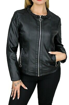 7a41232264 giacca ecopelle donna nera