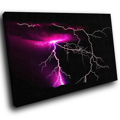 Purple Black Lightning Abstract Canvas Wall Art Cool Picture Prints • 9.99£