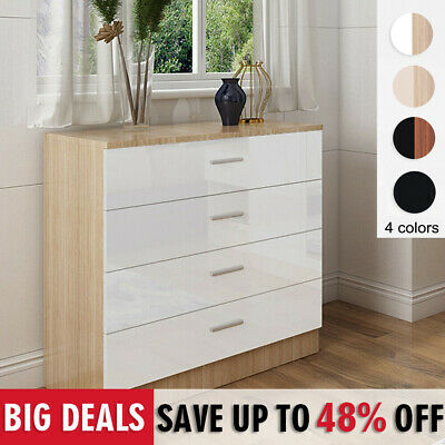 Home High Gloss Chest Of 4 Drawers Bedroom Furniture Hallway Storage Cabinet • 59.99£