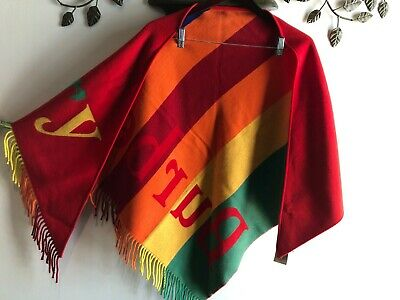 $359 • Buy NEW Burberry Bright  Red Color Fringe Rainbow Triangle Scarf Shawl Wrap Cashmere