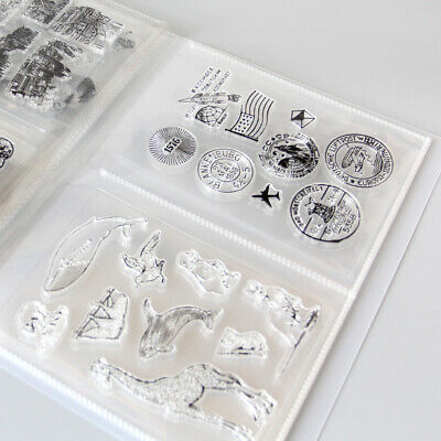 80 Pcs Clear Stamps & Die Storage Box Seal Album Pocket Holder Organizer Crafts • 5.94£