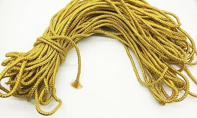 6mm Braided Fancy Rope Cord Golden Decorative Craft Bag Handle Outdoor Craft DIY • 9.99£