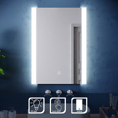 LED Illuminated Bathroom Mirror With Touch Sensor Modern Wall Mounted 500x700mm • 61.99£