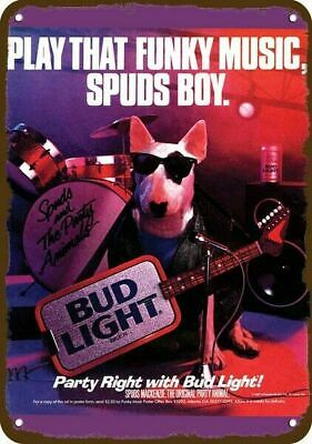 $ CDN30.37 • Buy 1987 BUD LIGHT BEER BUDWEISER & SPUDS MACKENZIE Vintage Look REPLICA METAL SIGN