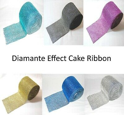 Diamante Effect Ribbon - Various Widths & Lengths - Cake Decoration Ribbon • 1.89£