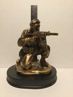 """$35 • Buy NEW Soldier Kneeling Aiming Rifle Military Resin Statue 9"""" MIL203"""